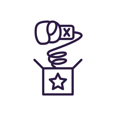 joke box with boxing glove over white background, line style icon, vector illustration