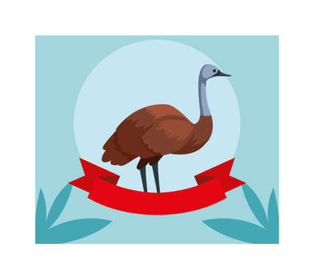 greeting card with australian emu vector illustration design