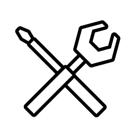tools, screwdriver and wrench in white background vector illustration design