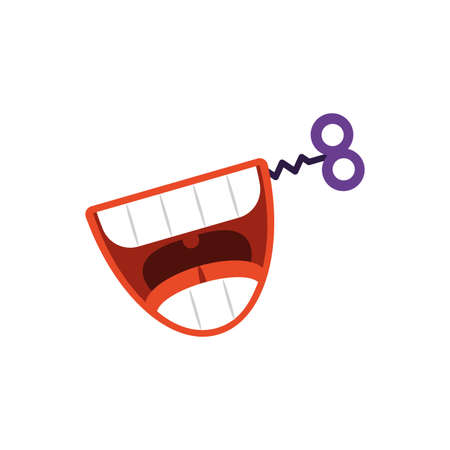 Teeth practical joke over white background, flat style icon, vector illustration