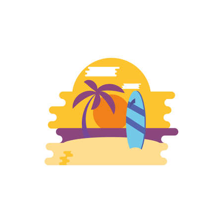 Beach and surfboard design, Summer vacation tropical relaxation outdoor nature tourism relax lifestyle and paradise theme Vector illustration