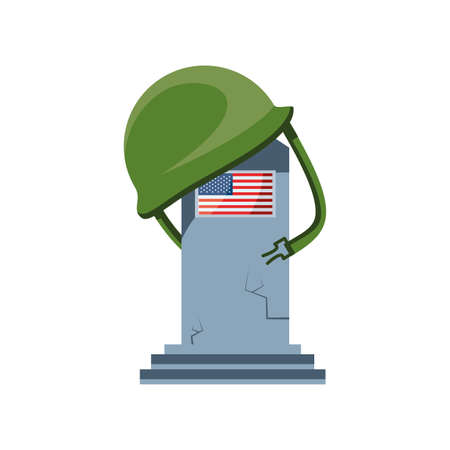commemorative tombstone with USA flag on white background vector illustration design
