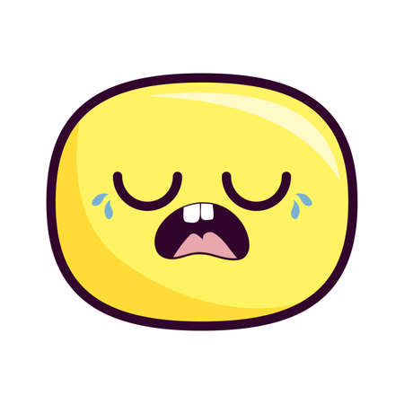 crying oval cartoon design, expression cute character funny and emoticon theme Vector illustration