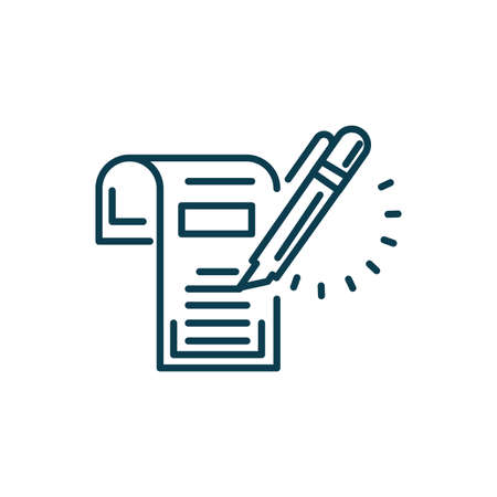 document and highlighter pen icon over white background, line style, vector illustration