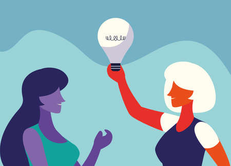 businesswomen with light bulb, people and ideas vector illustration design 向量圖像