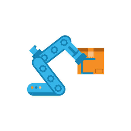 robot arm holding box design, Delivery logistics transportation shipping service warehouse industry and global theme Vector illustration