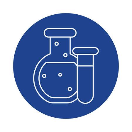 chemical laboratory test tubes, line block style icon vector illustration design Illustration