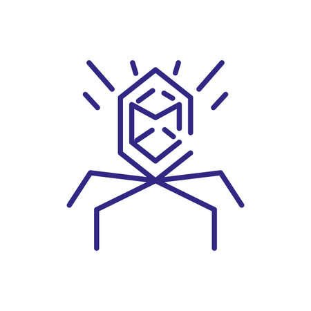 bacteriophage icon over white background, line detail style, vector illustration Illustration