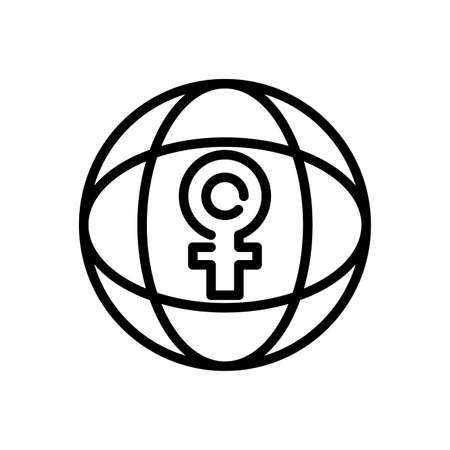 global sphere with female gender symbol over white background, line style icon, vector illustration 向量圖像