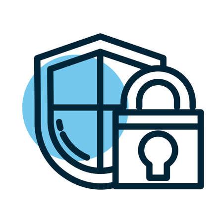 padlocked shield, line style icon vector illustration design