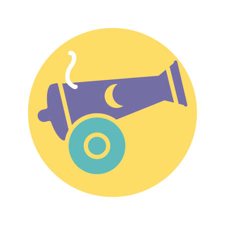 cannon with moon icon over white background, block style, vector illustration
