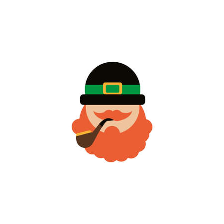 leprechaun face with hat, flat style icon vector illustration design Ilustracja