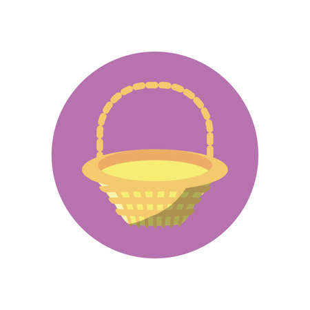 basket icon over white background, block style, vector illustration