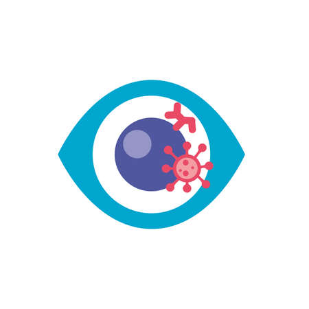 eye with bacteria germ over white background, flat style icon, vector illustration