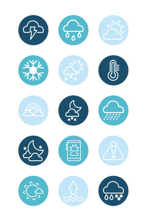 set of icons weather, block and flat style icon vector illustration design  イラスト・ベクター素材