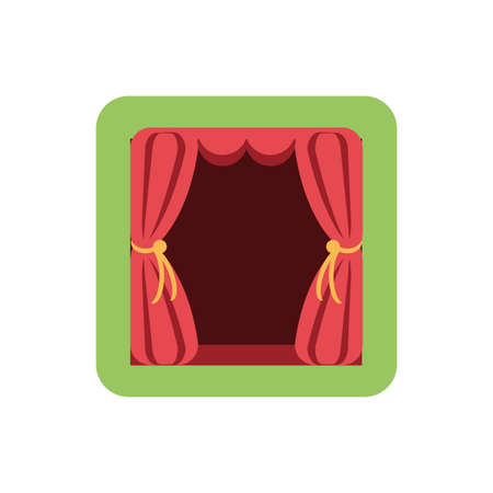 curtains, red, theatrical, hanging, vector illustration design Vector Illustration