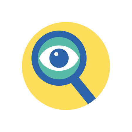 eye inside lupe icon design, Tool search magnifying glass zoom lens and exploration theme Vector illustration