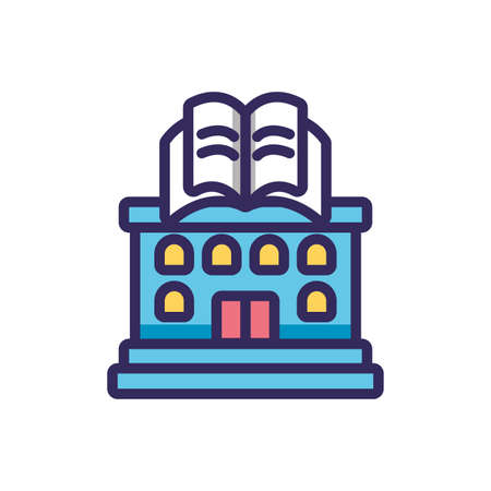 bookstore over white background, line and fill style icon, vector illustration