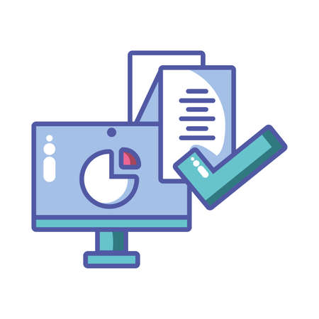 computer screen with digital technology in white background vector illustration design
