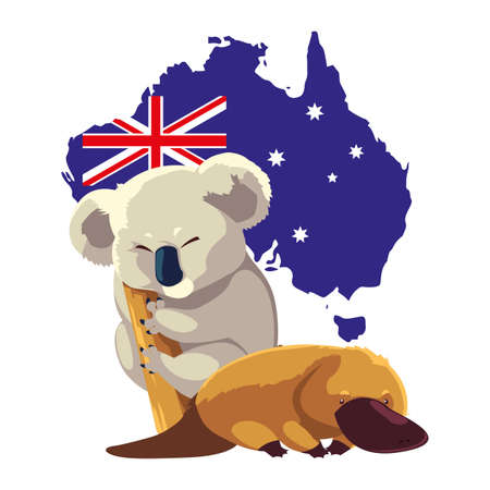 koala and platypus with map of australia in the background vector illustration design