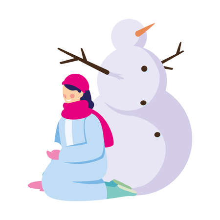 woman with snowman on white background vector illustration design