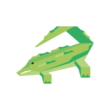 geometric crocodile on white background vector illustration design