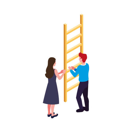 couple of people with stair on white background vector illustration design