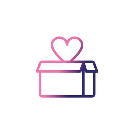 cardboard box, gradient style icon vector illustration design