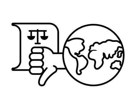 planet earth with protest icons on white background vector illustration design