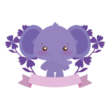 Cute elephant cartoon with flowers design, Animal zoo life nature character childhood and adorable theme Vector illustration