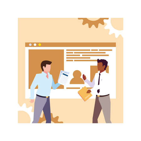 businessmen in meeting , planning and marketing research vector illustration design 向量圖像