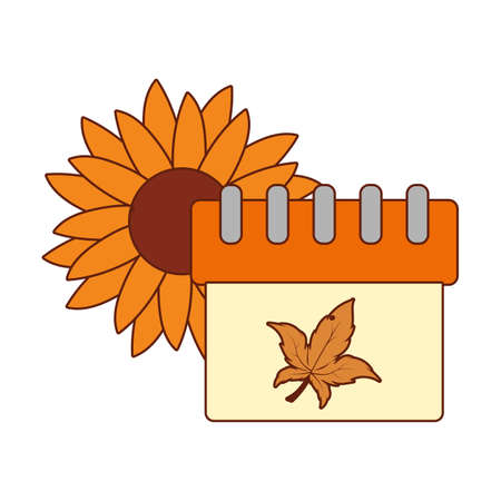 Sunflower and calendar of thanksgiving day design, Autumn season holiday greeting and traditional theme Vector illustration Çizim