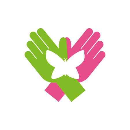 Hands with butterfly of zero discrimination day, flat style icon vector illustration design
