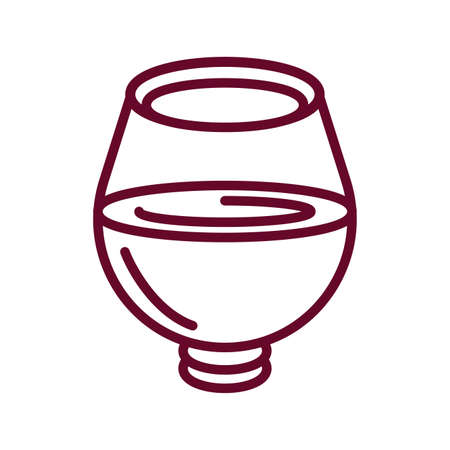 wine tumbler glass icon over white background, line style icon, vector illustration