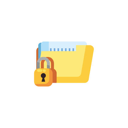 File and padlock design, Document data archive storage organize business office and information theme Vector illustration Ilustração
