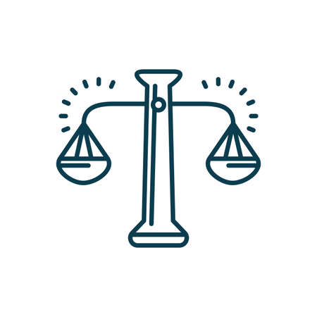law scale icon over white background, line style, vector illustration