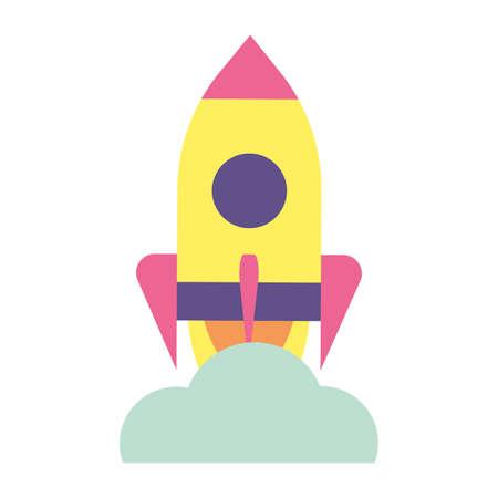 flying rocket with smoke on white background vector illustration design