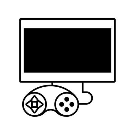 desktop computer screen with videogames control on white background vector illustration design Ilustração