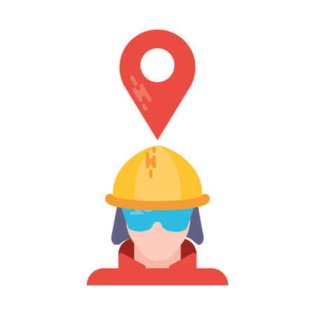 man with safety helmet and tag on white background vector illustration design Иллюстрация