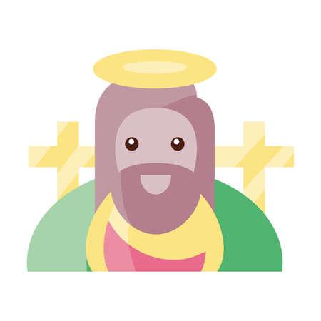jesus christ religious symbol on white background vector illustration design Ilustração