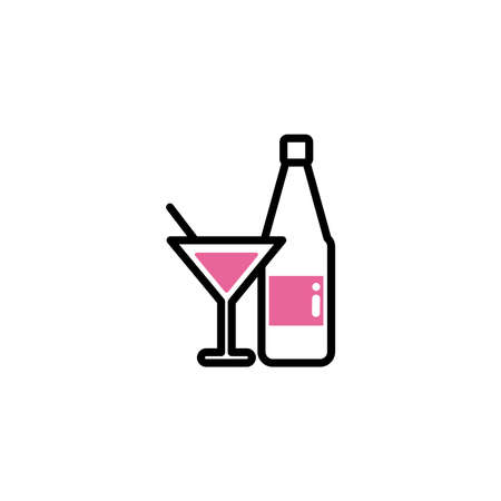glass and bottle of sparkling champagne , line style and color vector illustration design