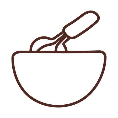 bakery whisk, line style icon vector illustration design Vetores