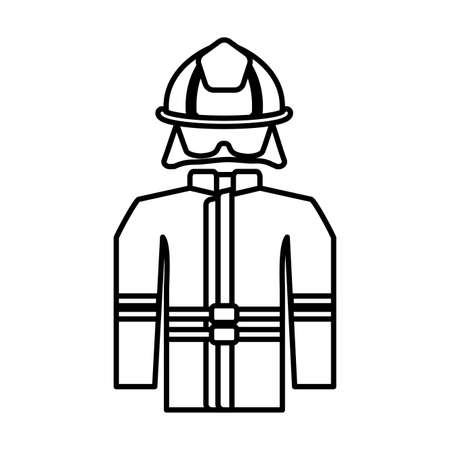 firefighter suit on white background vector illustration design Illustration