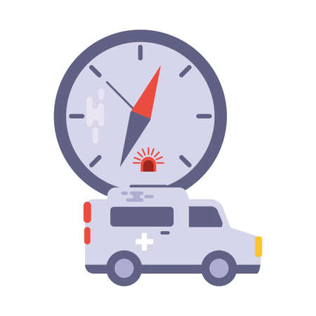 ambulance with watch on white background vector illustration design