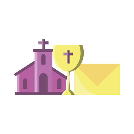 church with catholic cross in white background vector illustration design