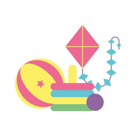 jouets pour petits enfants, jouets en bois et en plastique conception d'illustration vectorielle Vecteurs