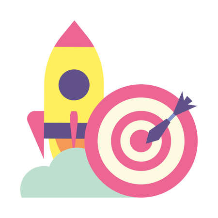 flying rocket with target and arrow on white background vector illustration design
