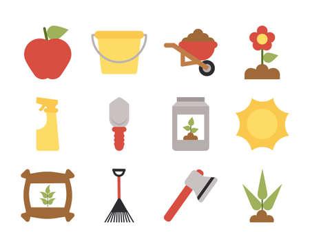 set of icon gardening on white background vector illustration design