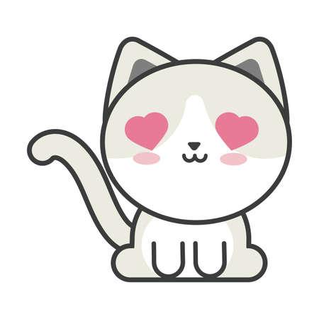 cute cat on white background, feline domestic vector illustration design