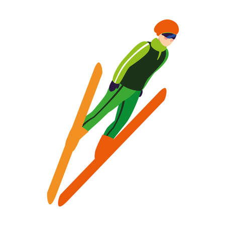 man practicing sport extreme winter on white background vector illustration design